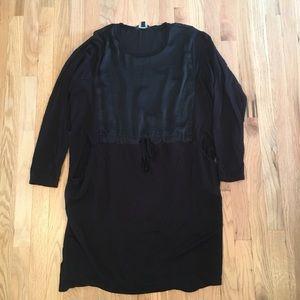 Simply Vera black long sleeve tie waist dress XL